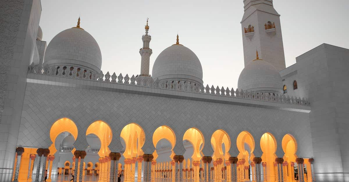 A person standing in front of Sheikh Zayed Mosque
